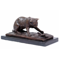 Statue en bronze chat chassant un oiseau 26 cm