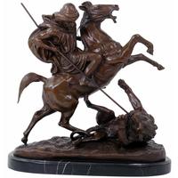 Statue en bronze cavalier arabe tuant un lion 42 cm