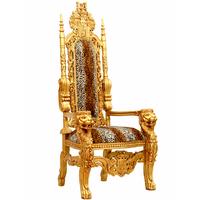 Trône royal doré 180 cm velours imitation fourrure de léopard