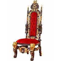 Chaise trône têtes de lion 180 cm