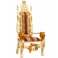Trône royal têtes de lion 180 cm en acajou massif doré