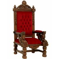 Trône royal 174 cm en acajou et velours rouge Windsor
