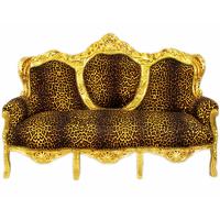 Canapé rococo en bois hêtre doré et tissu léopard Oslo