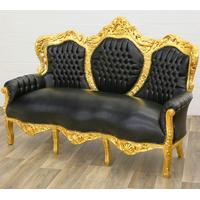 Canapé rococo en bois doré et simili-cuir noir Oslo
