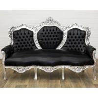 Canapé baroque royal en bois argenté et simili-cuir noir Oslo