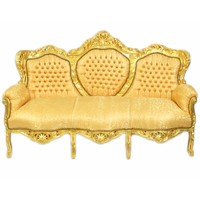 Canapé rococo en bois et tissu doré Oslo