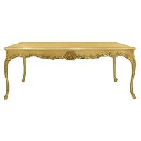 Table de salle à manger baroque en hêtre doré 200x100cm Oslo