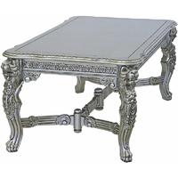 Table repas royale à têtes de lion en acajou argenté 220x110cm Bolton