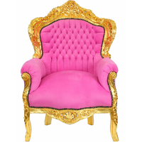 Fauteuil baroque de princesse en bois doré et velours rose Stockholm