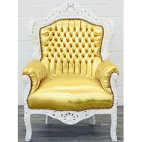 Fauteuil rococo en bois blanc et simili-cuir doré Stockholm