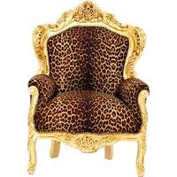 Fauteuil baroque en bois doré et tissu léopard Stockholm