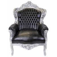 Fauteuil baroque en bois argenté et simili-cuir noir Stockholm