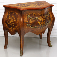 Commode style Louis XV en marqueterie noyer Thoury