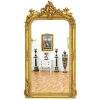 Miroir baroque en bois doré avec angelots 160x85cm Prat