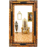 Miroir baroque cadre en bois noir et doré 152x92 cm Talcy