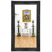 Grand miroir rocailles en bois noir 234x134cm Aucors