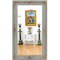Miroir baroque Shabby Chic 204x114cm en bois blanc patiné Coucy