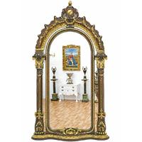 Grand miroir royal rococo en bois brun doré 248x136 cm Olivet