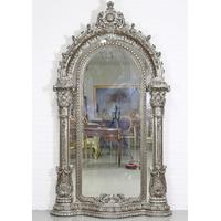 Miroir royal rococo 248x136cm en bois argenté Olivet