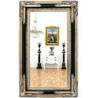 Miroir baroque 152x92cm cadre en bois noir et argenté Talcy