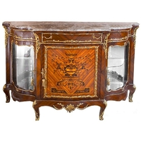 Buffet vitré style Louis XV en marqueterie noyer Mazancourt