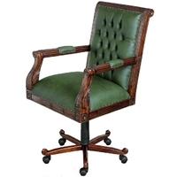 Fauteuil de bureau pivotant chesterfield vert style anglais Bristol