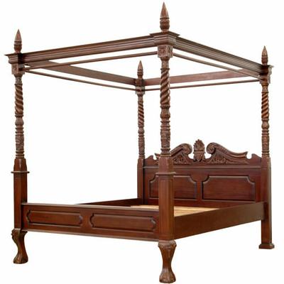 lit baldaquin style colonial en acajou massif preston. Black Bedroom Furniture Sets. Home Design Ideas