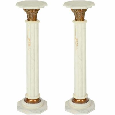 Colonnes-Empire-marbre-blanc
