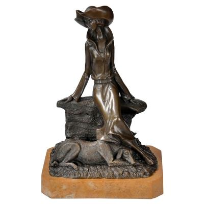 Statue-bronze-femme-chien
