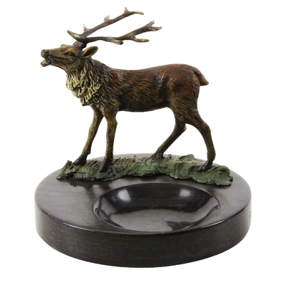 Cendrier-cerf-marbre-bronze