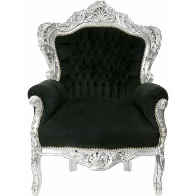 Fauteuil-baroque-noir-argent