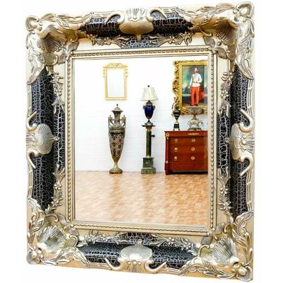 Miroir baroque cadre en bois noir et argent 90 x 80 cm for Miroir noir baroque