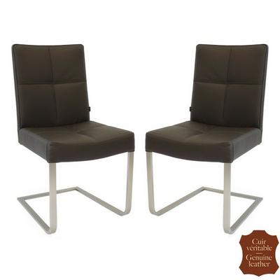 chaises-cuir-veritable-marron-a
