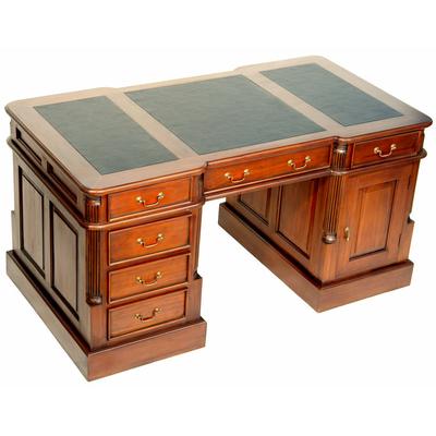 bureau de style anglais 140 cm en acajou avec sous main noir oxford meubles de style bureaux. Black Bedroom Furniture Sets. Home Design Ideas