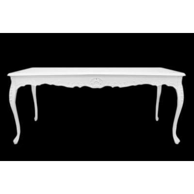 Table salle à manger baroque en hêtre blanc 200x100cm Oslo