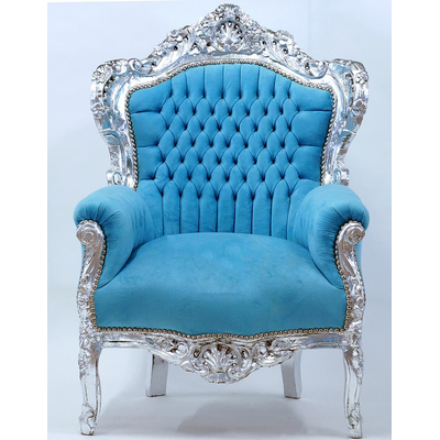 Fauteuil-baroque-turquoise-argent