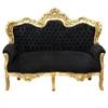 Canapé baroque noir en bois doré et velours noir Stockholm