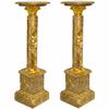 Paire de colonnes en marbre marron style Empire Chamilly