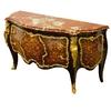Commode royale style Louis XV en marqueterie noyer amarante Chantilly