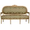 Canapé style Louis XVI en bois doré et tissu vert Versailles
