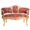 Canapé style Louis XV en hêtre doré et tissu rouge Douzon