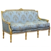 Canapé Louis XVI 3 places en bois doré et tissu bleu Chambord