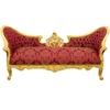Canapé style Napoléon III Second Empire en bois doré et rouge Compiègne