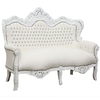 Canapé de mariage baroque en hêtre et simili-cuir blanc Stockholm
