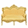 Canapé rococo en bois et tissu doré Stockholm