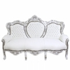 Canapé de mariage royal en hêtre argenté et blanc Oslo