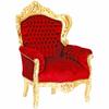 Fauteuil de père noël en bois doré et velours rouge Stockholm