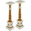 Paire de colonnes corinthiennes style Empire en marbre blanc et bronze Fayet