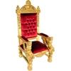 Fauteuil trône de père noël en acajou doré et velours rouge Windsor