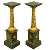 Paire de colonnes corinthiennes en marbre vert et bronze Iéna